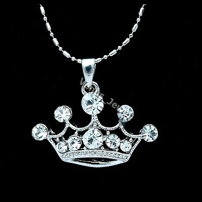 Royal King Queen Crown Crystal Pendant Necklace P183