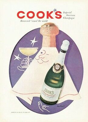 1955 Cook's PRINT AD Imperial American Champagne VIntage Bottle Paul Rand ART