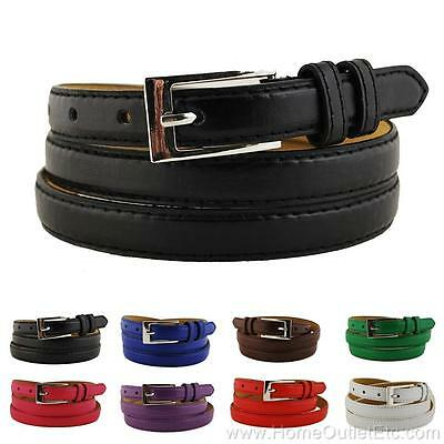 Skinny Plain Leather Belt with Stitched Edge Solid Jeans Unisex Mens Narrow 3/4""