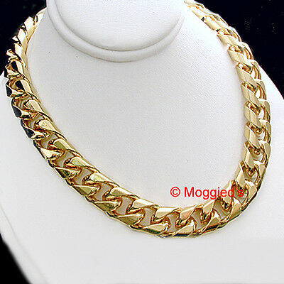 """ALL SIZES 16""""-30"""" 9mm Men SQUARE CURB Link Gold GL Necklace + LIFETIME GUARANTEE"""