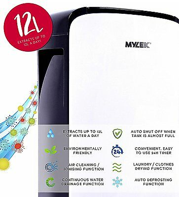 Compact Portable 12L Dehumidifier + Ioniser Damp Remover Clothes Drying Function