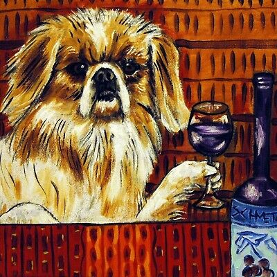 pekingese dog art ceramic TILE dog coaster JSCHMETZ wine art abstract pop folk