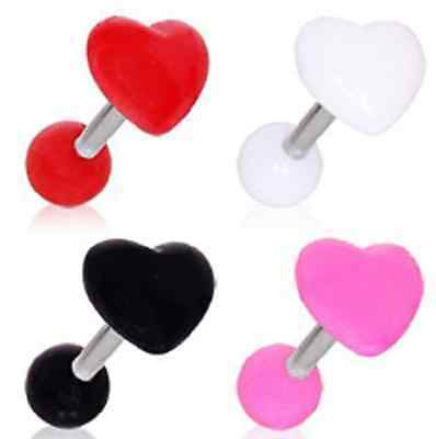 Brand New Surgical Steel Cartilage Tragus Bar with Acrylic Heart