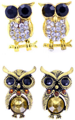 vintage antique style wise old owl charm earrings, multiple choices