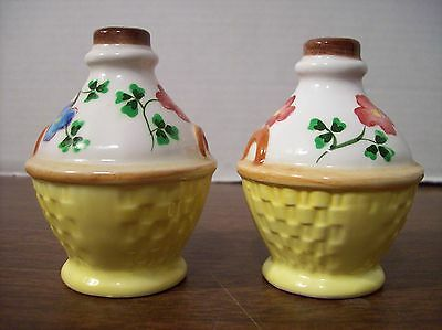 Vintage Floral Basket Salt & Pepper Shakers-JAPAN