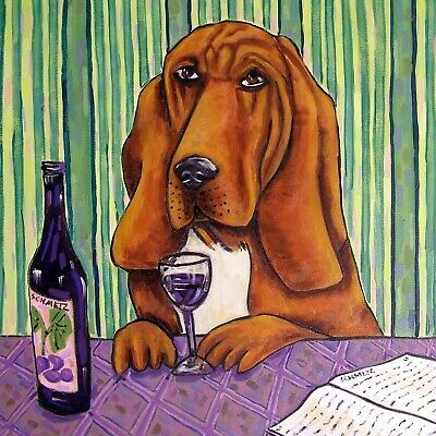 BLOODHOUND at the wine bar dog art tile coaster gift artwork modern