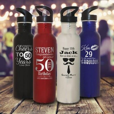 Personalised 800ml Engraved Drink Bottle Aluminium Sports Gift for School Water