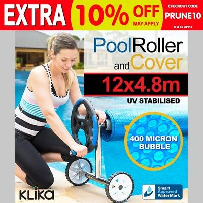 ROLLER + APPROVED 12x4.8 UV STABILISED SOLAR SWIMMING POOL COVER BUBBLE BLANKET