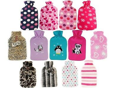 Luxury Fur / Fleece Hot Water Bottles + Removeable Washable Cover Gift Present