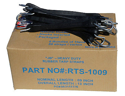 "10 Pack 9"" JB Heavy Duty Natural Rubber Tarp Straps TARP TIE DOWN Bungee Cords"