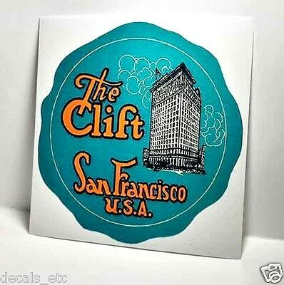 The Clift Hotel San Francisco USA  Vintage Style Travel Decal / Vinyl Sticker