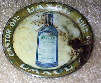 1900-1910  GRAPHIC LAXOL CASTOR OIL ADVERTISING TIP TRAY by CHARLES SHONK & CO