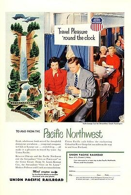 1953 Union Pacific Northwest Railroad Multnomah Falls Oregon PRINT AD