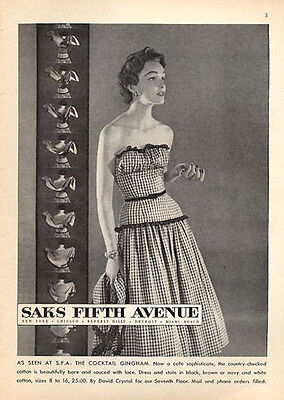 "1953 Saks Fifth Avenue Fashion Dress ""The Cocktail Gingham"" Cute Decor PRINT AD"