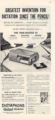 1949 DictaPhone Electronic Dictation  ART PRINT AD