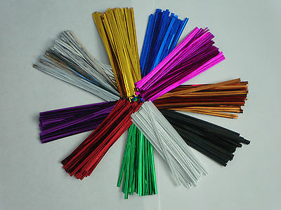 """50 x 4"""" 10CM METALLIC TWIST TIES FOR CELLO BAGS CHOICE OF 11 COLOURS"""