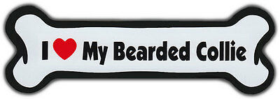 Dog Bone Magnet: I LOVE MY BEARDED COLLIE | Dogs Doggy Puppy | Car Automobile