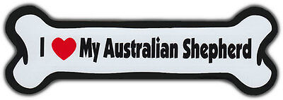 Dog Bone Magnet: I LOVE MY AUSTRALIAN SHEPHERD | Dogs Doggy Puppy | Car