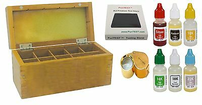 Wood Jewelry Acid Tester Box Pro Stone PuriTEST Gold Silver Bottles 10k 14k 18k