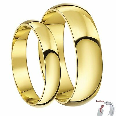 His & Hers 9ct Yellow Gold Court Wedding Ring bands 3&5mm, 4&6mm