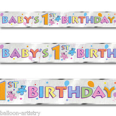 12ft Teddy Baby's 1st Birthday Party Foil Banner Decoration