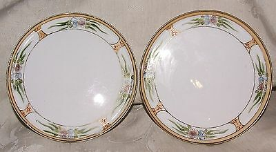 """LOVELY ANTIQUE Pair Nippon Morimura Bros M in Wreath 6"""" Plates Hand Painted"""