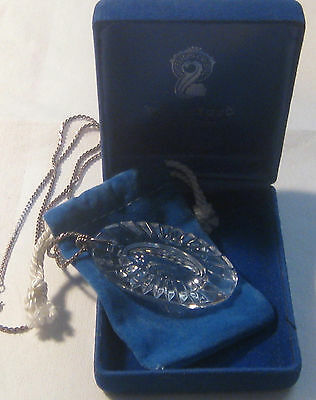 Vintage WATERFORD Crystal Pendant / Ornament Sterling Chain – Blue Box/Dust Bag