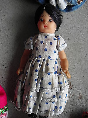 """Vintage 1960s Vinyl Girl in Polka Dot Outfit Character Doll 6 3/4"""" Tall"""