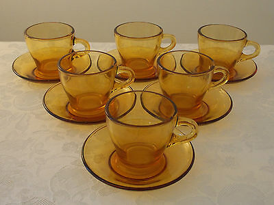 Vintage Antique Collectable Retro Funky Set of 6 Amber Glass Coffee Cups
