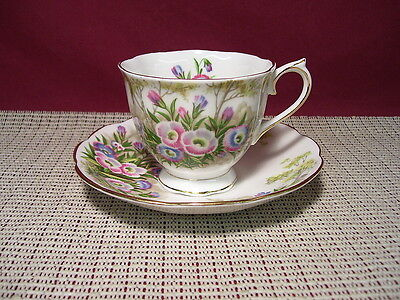 Royal Albert Fine China Fringed Gentian Pattern Cup & Saucer Set