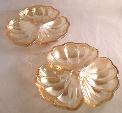 DORIC MARIGOLD JEANNETTE 3-PART CLOVER LEAF CANDY DISHES Set of 2 Carnival Glass