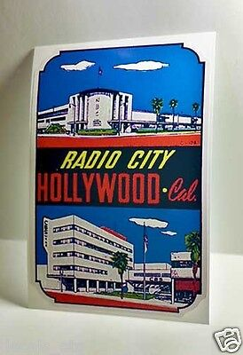 Radio City California Vintage Style Travel Decal / Vinyl Sticker, Luggage Label