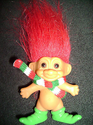"Russ Troll Doll 3"" RED HAIR GREEN ELF SHOES SCARF"