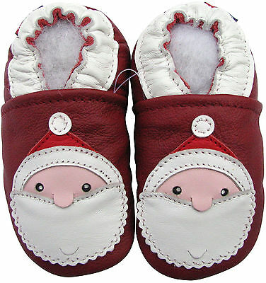 carozoo santa dark red 12-18m soft sole leather baby shoes
