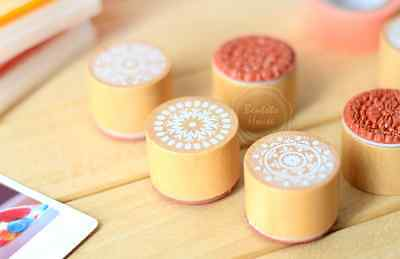 Vintage round wooden rubber stamps 6 patterns art Wedding cute card craft diary