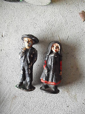 """Lot of 2 Vintage Small Cast Iron Amish Boy and Girl Figurines 2 1/4"""" Tall"""