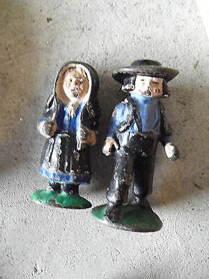 """Lot of 2 Vintage Small Cast Iron Amish Boy and Girl Figurines 2 5/8"""" Tall"""