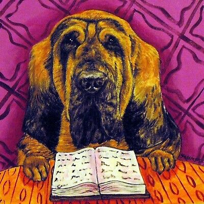 bloodhound reading impressionism dog coaster gift tile modern animals art new