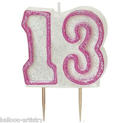 "3.5"" PINK Glitz 13th Birthday Glitter Moulded Candle"