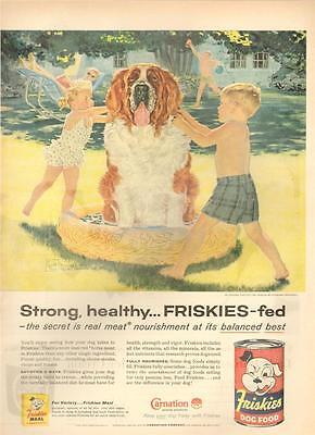 1957 Friskies PRINT AD Dog Food Children Bath St Bernard Douglas Crockwell ART