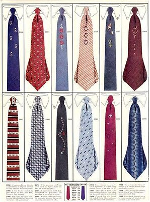 1956 Men's Fashion Ties PRINT AD features 12 vintage designs great for framing