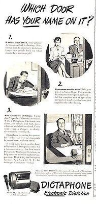 1947 Dictaphone  PRINT AD Electronic Dictation great documenting ad