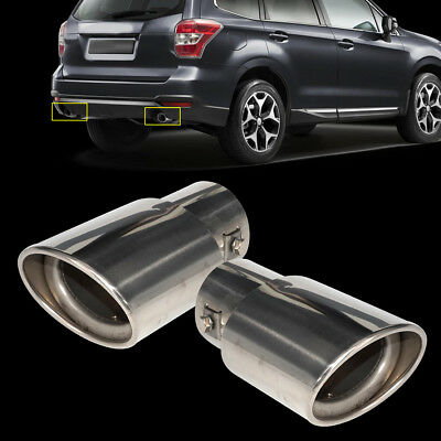 2X 63mm STEEL CHROME EXHAUST TAIL MUFFLER TIP PIPE for Subaru Forester 2008-2012