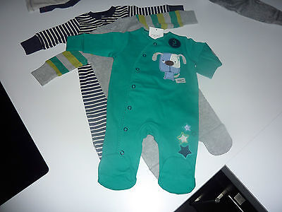 NEXT 3 Gorgeous Little Boys Sleepsuits Up to 1 Month NWT
