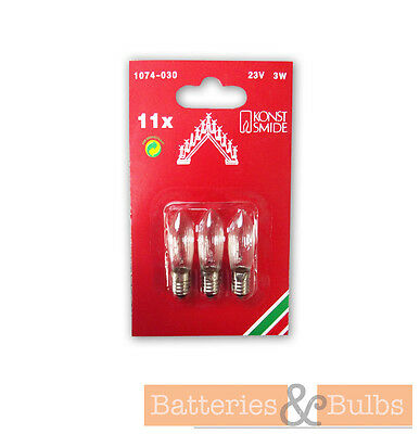 3w 23v E10 Christmas 10 - 11 Arch Candle Bridge Replacement Spare Screw Bulbs x3