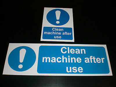 CLEAN MACHINE AFTER USE Sign Plastic, Sticker & Holed Catering Food Hygiene Cafe
