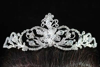 Floral Clear Austrian Rhinestone Crystal Crown Tiara Bridal Wedding Prom H1410