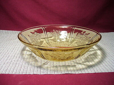 "Vintage Federal Depression Glass Sharon Cabbage Rose Amber 8 1/2"" Round Bowl"