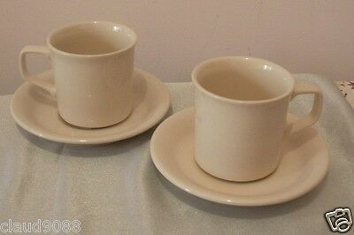 Bendigo Pottery Almond Design Teacups & Saucers (Set Of 2 Each)