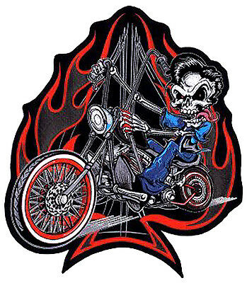 FLAMING CHOPPER LARGE Motorcycle Vest BACK PATCH